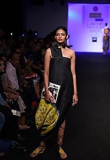 Black one shoulder patola printed cowl dress by I AM DESIGN