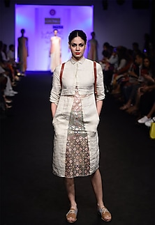 Ivory kantha embroidered organza panel tear dress by I AM DESIGN