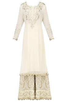 Ivory Gota Patti Embroidered Kurta with Sharara Set