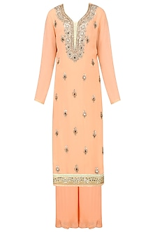 Orange Gota Patti Embroidered Kurta with Orange Sharara Set