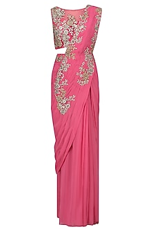 Dark Pink Embroidered Drape Saree with Blouse Set