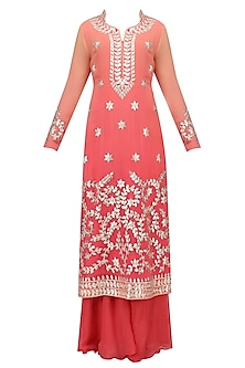 Coral Ombred Gota Patti Embroidered Kurta with Sharara Set