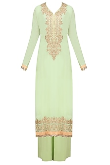 Light Green Gota Patti Embroidered Kurta with Sharara Set