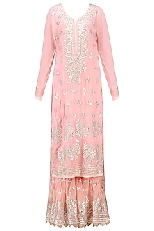 Baby Pink Gota Patti Embroidered Kurta with Sharara Set