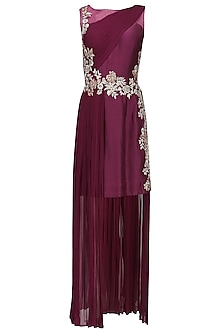 Wine Floral Embroidered Drape Dress