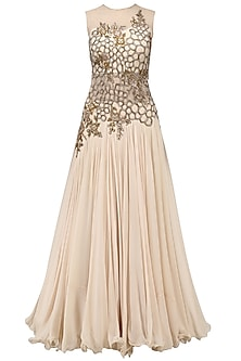 Beige Resham Embroidered Pleated Gown