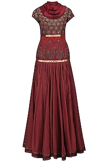 Maroon Embroidered Drape Dupatta Gown