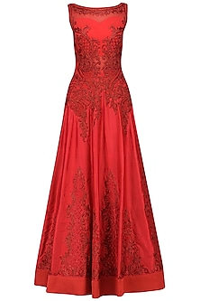 Red Resham and Zari Embroidered Gown by IBFW Collection