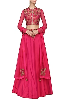 Dark Pink Resham Embroidered Lehenga Set by IBFW Collection