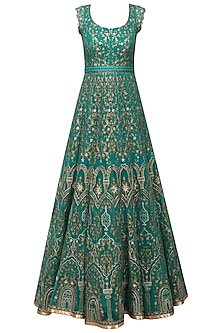 Emerald Green Resham Embroidered Anarkali Set by IBFW Collection