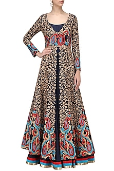 Midnight Blue Embroidered Jacket with Anarkali Set by IBFW Collection