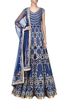 Royal Blue Resham Embroidered Anarkali Set by IBFW Collection