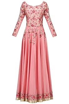 Sombre Peach Floral Embroidered Anarkali Set