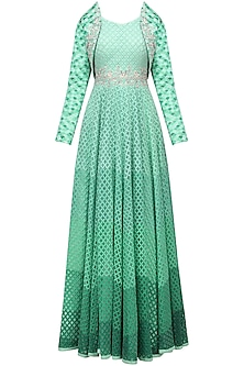 Light Green Anarkali with Embroidered Bolero Jacket