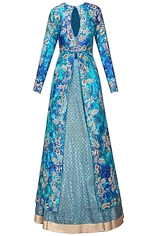 Blue Tie and Jacket with Block Print Lehenga Skirt