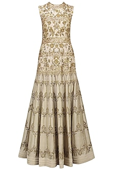 Ivory Floral Embroidered Gown