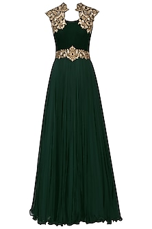 Emerald Green Gold Embroidery Gown