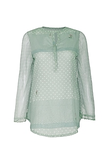 Mint Green Embroidered & Block Printed Top by IHA