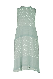 Mint Green Embroidered & Block Printed Shift Dress by IHA