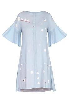 Powder Blue Embroidered Shift Dress by IHA