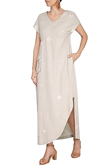 Natural Embroidered Maxi Dress by IHA