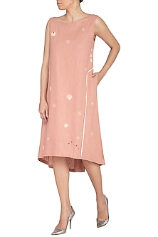 Dusty Pink Embroidered A-line Dress by IHA