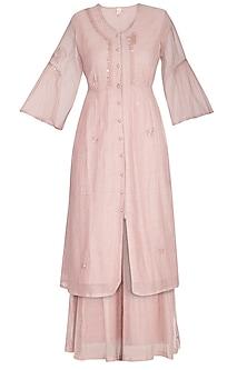 Pink Embroidered Kurta With Palazzo Pants by IHA