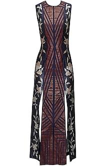Floral Print Leather Applique Work Dress