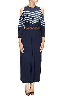 Ink Blue Shibori Maxi Dress by Ikai by Ragini Ahuja