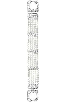 Rhodium polish signities and pearls bracelet by Ikebaana