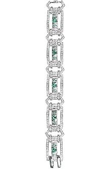 Rhodium polish signities and green onyx cuff by Ikebaana