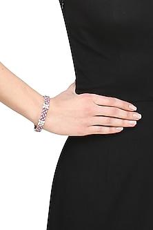 Rhodium polish signities and rubies flower bracelet by Ikebaana