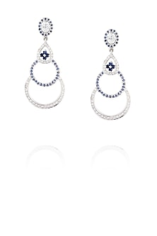 Rhodium polish signites and kyanite semi circle earrings by Ikebaana