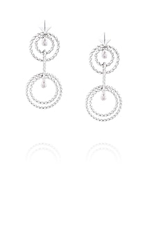 Rhodium polish signities spiral circle earrings by Ikebaana