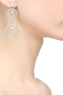 Rhodium polish signities spiral circle earrings by Ikebaana