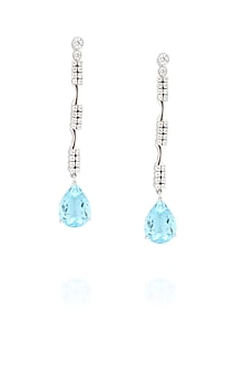Rhodium polish signities and blue topaz earrings by Ikebaana
