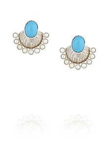 Turquoise and pearl drop earrings by Ikebaana