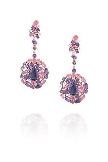 Pink onyx kyanite earrings by Ikebaana