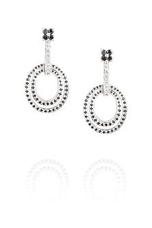 Black diamond spiral earrings by Ikebaana
