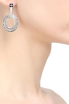 Black diamond spiral earrings