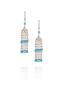 Pearl hanging turquoise earrings by Ikebaana