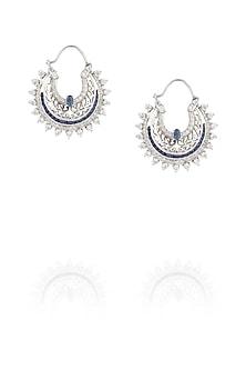 Blue onyx hoop earrings by Ikebaana