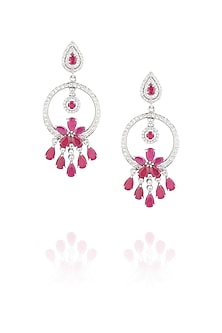 Glass ruby earrings by Ikebaana