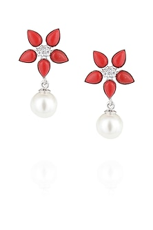 Red coral and pearl earrings by Ikebaana