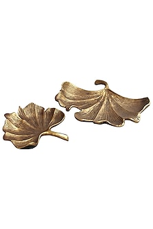Golden Aluminium Gingko Platter by Karo