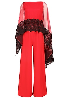 Crimson red and black lace applique work cape jumpsuit by Swatee Singh