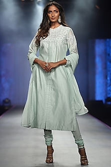 Mint Green Embroidered Kurta Set by Samant Chauhan