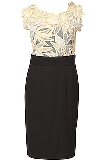 Black and beige embroidered leaves applique work dress