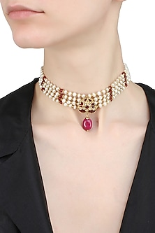 Gold finish pearl, polki and ruby stones choker necklace