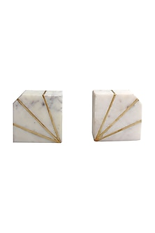 White Marble & Brass Inlay Bookends (Set of 2) by Karo